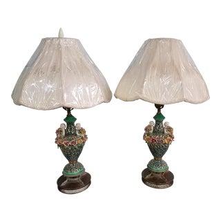 1950s Art Noveau Capodimonte Cherub/Angels Floral Lamps - a Pair For Sale