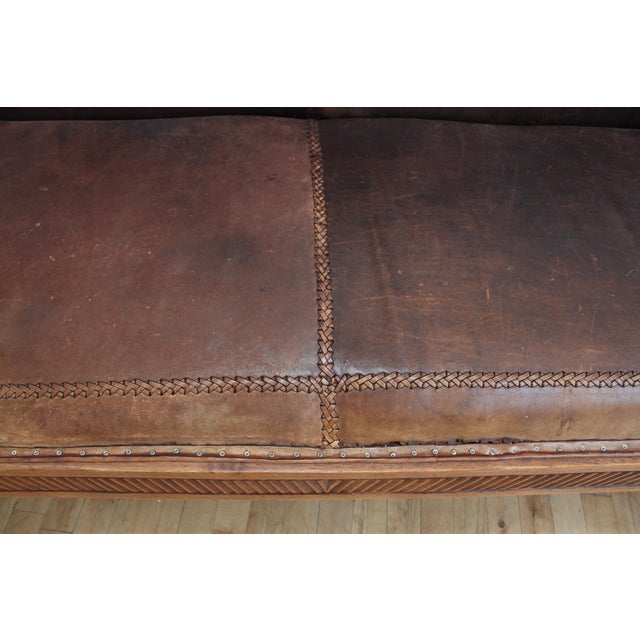 Mahogany Chippendale Bench Sofa - Cape Buffalo Leather For Sale - Image 9 of 12