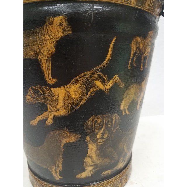 English English Antique Bucket / Pail With Decoupage Dogs - Found in Southern England For Sale - Image 3 of 13