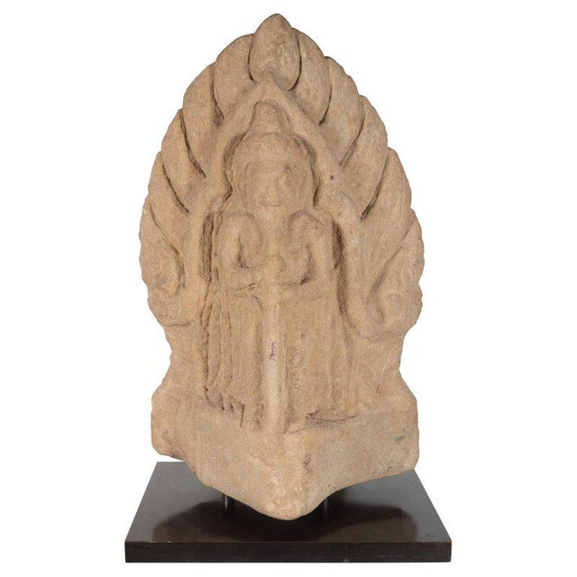 Antique Indian Hand-Carved Limestone Temple God with Lotus Leaf Motif For Sale - Image 11 of 11