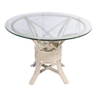 1960s Boho Chic White Rattan Dining Table For Sale