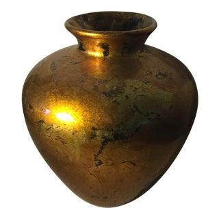 Vintage Greek Art Studios Gold Pottery Jar For Sale