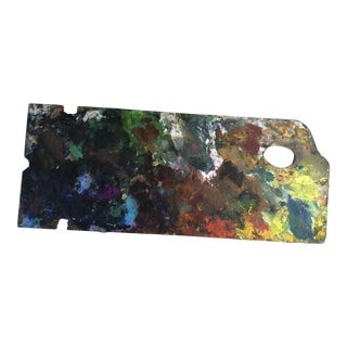 Vintage French Artists Palette With Oil Remenants For Sale