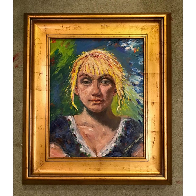 Navy Blue 'The Barmaid' Original Oil Signed & Framed Painting For Sale - Image 8 of 13