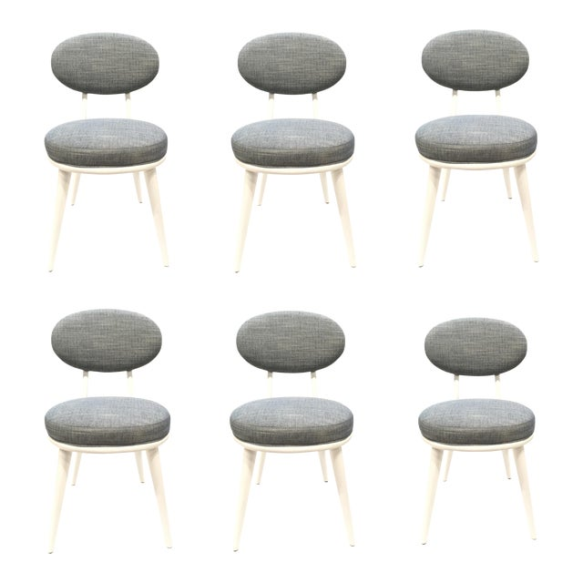 Drexel Heritage Blue-Gray Dwelling Dining Chairs Set of Six For Sale