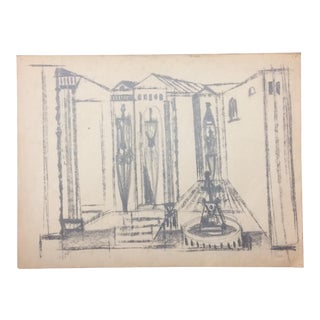 Robert George Gilberg Architectural Charcoal Drawing