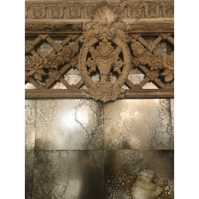 Beautiful large detailed antique door surround architectural carved molding molding with trellis design. Distressed mirror...