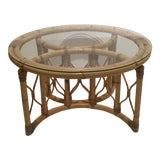 Image of Vintage Boho Chic Rattan Coffee Table For Sale