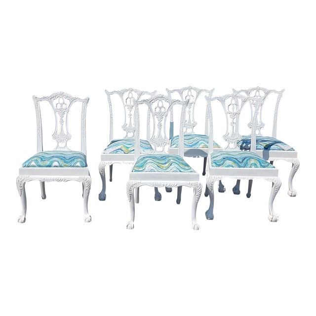 Set of 6 White Chippendale Dining Chairs For Sale