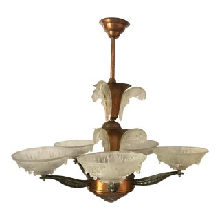 1930's Ezan French Art Deco Glass and Copper Chandelier For Sale