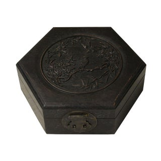 Chinese Huali Rosewood Dark Brown Hexagon Handcrafted Storage Box For Sale