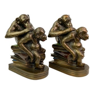 Bronze Monkeys on Books Bookends - Pair of 2 For Sale