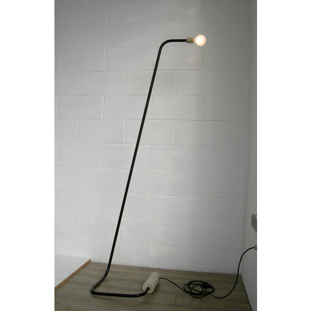 Concrete and Bent Steel Line Floor Lamp by Nicholas Tilma For Sale - Image 4 of 4