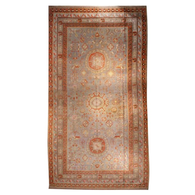 Early 20th Century Central Asian Khotan Carpet - 8' x 16' For Sale