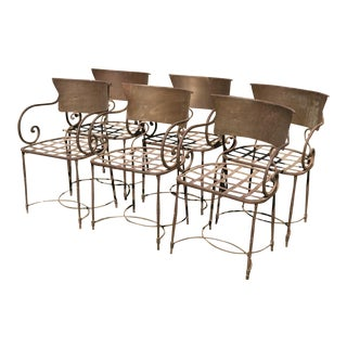 Vintage French Metal Arm Chairs - 6 Pieces For Sale