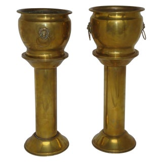 Antique Brass Planter Jardinieres & Pedestals - a Pair For Sale