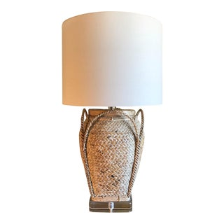 Richard Lindley Rattan Basket Lamp For Sale