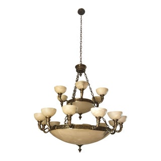 Antique Two-Tiered Brass and Alabaster Chandelier For Sale