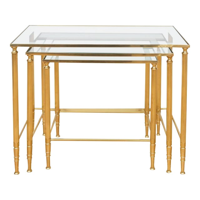 Italian Brass Nesting Tables - Set of 3 For Sale