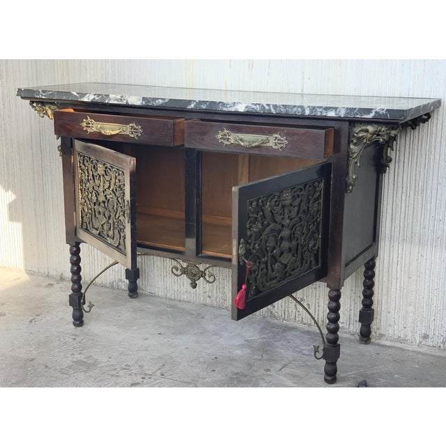 Spanish 19th Spanish Buffet, Cupboard in Walnut and Top Marble With Bronze Decorations For Sale - Image 3 of 12