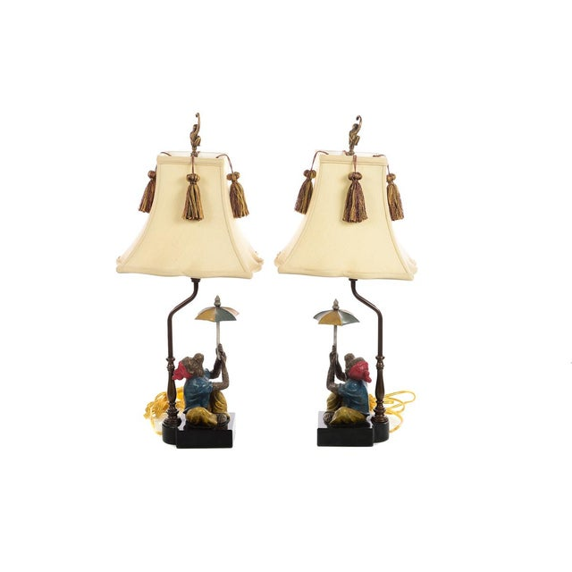 """Maitland Smith - Monkey holding an Umbrella -Beautiful Vintage Table Lamps-a Pair Dimension: 10 x 10 x 24 1/2"""" A beautiful..."""
