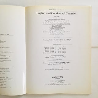 1993 Sotheby's English & Continental Ceramics Art Auction Catalog Preview