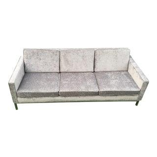 1970s Mid Century Modern Milo Velvet Chrome Leg Sofa For Sale