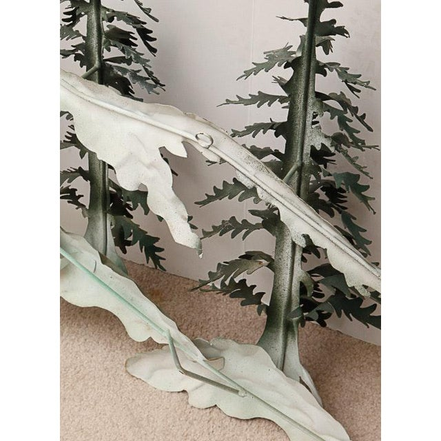 Woodland Scene With Mountains Metal Wall Sculpture For Sale In Atlanta - Image 6 of 9
