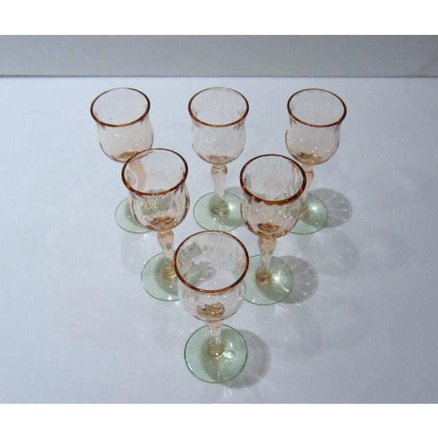 Pink & Green Watermelon Glass Cordials - Set of 6 For Sale - Image 5 of 11