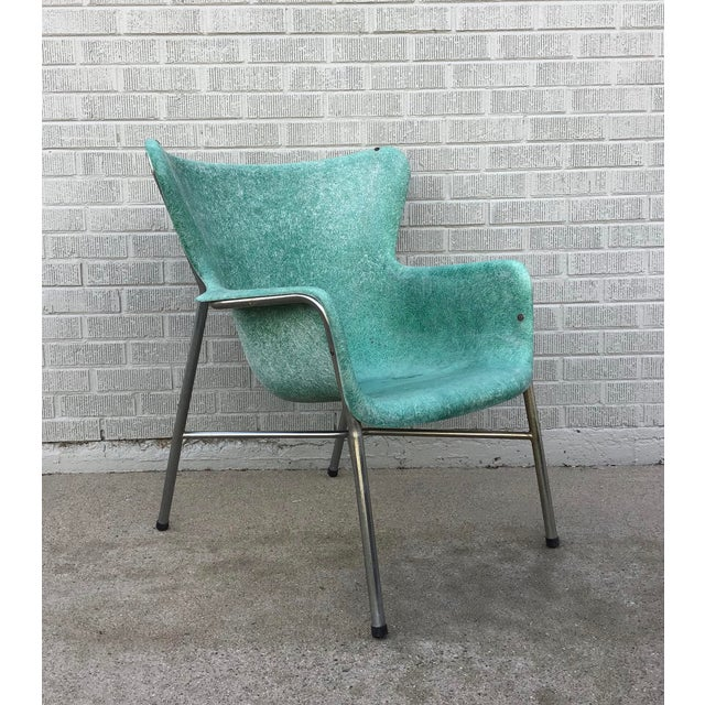 Mid Century Modern Fiberglass Aqua Green Chair With Chrome Legs For Sale - Image 13 of 13