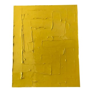 Industrial Abstract Yellow Acrylic Painting Signed For Sale
