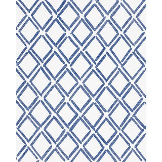 Sample - Schumacher Dina Paperweave Wallpaper in Cobalt For Sale