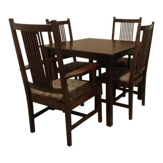 Stickley Mission Arts & Crafts Oak Dining Set