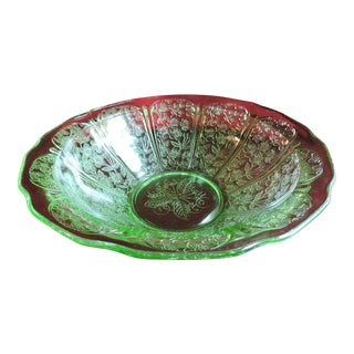 Vintage 1930s Jeannette Glass Co. Green Cherry Blossom Bowl For Sale