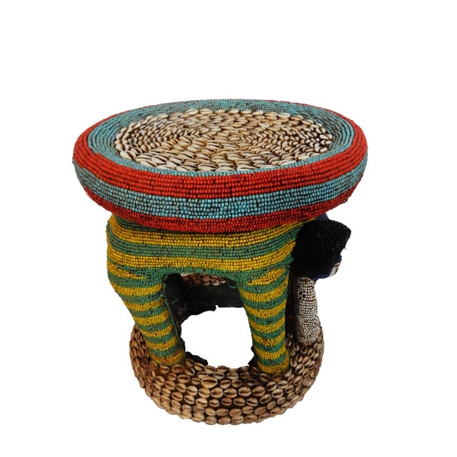African Beaded Bamileke Elephant Stool - Image 7 of 10