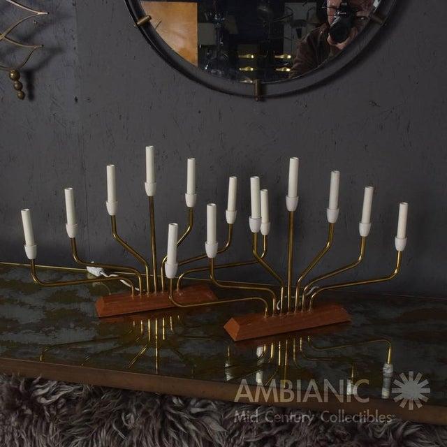 Gold Pair of Danish Modern Menorah Table Lamps For Sale - Image 8 of 8