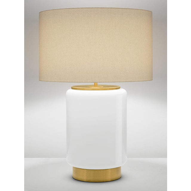 Art Deco Style Milk Coloured Lamp With Shade For Sale - Image 4 of 4