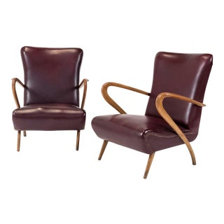 1950s Mid-Century Modern Bent Wood & Vinyl Lounge Chairs - a Pair