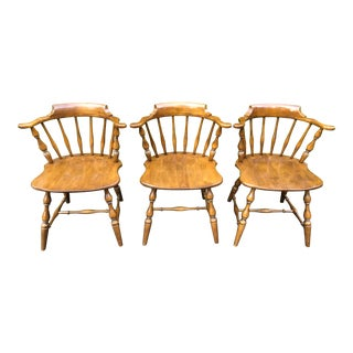 Vintage Mid Century Pennsylvania House Barrel Back Captains Chairs - Set of 3 For Sale