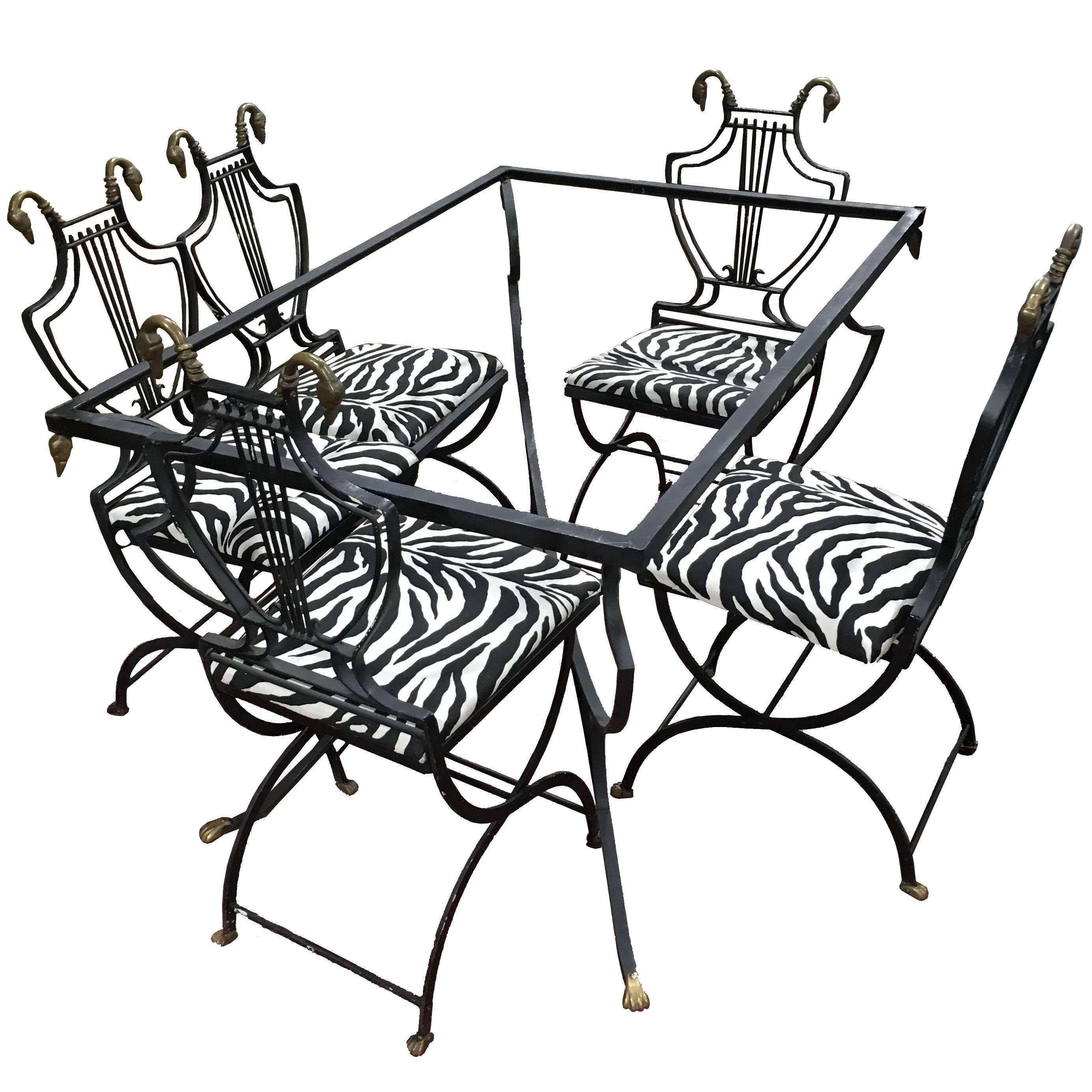 art deco outdoor furniture art deco italian wrought iron lyre swan set dining chairs table by copelon for highend