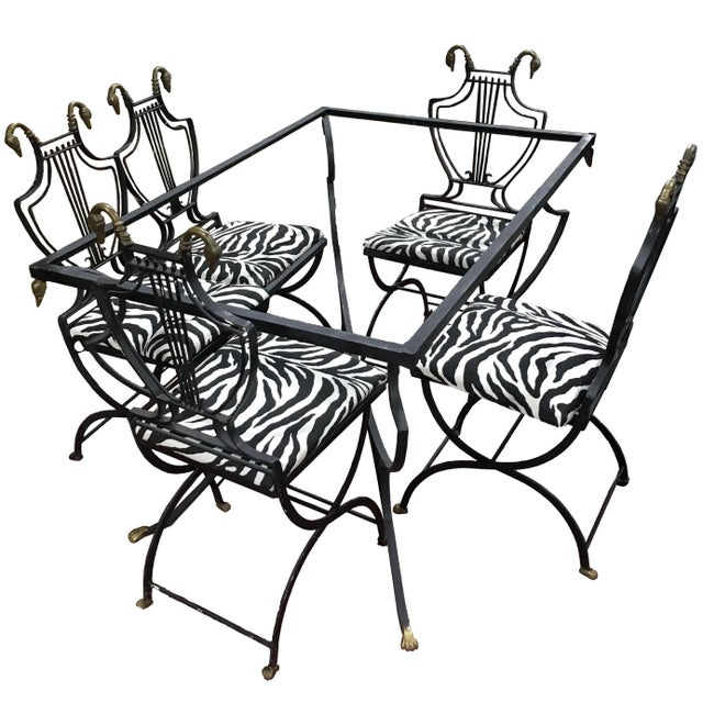 Art Deco Italian Wrought Iron Lyre Swan Set 5 Dining Chairs & Table by Copelon For Sale - Image 11 of 11