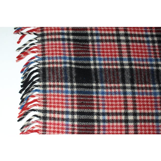 Adirondack 1970s Vintage Fringed Plaid Wool Camp Blanket For Sale - Image 3 of 6
