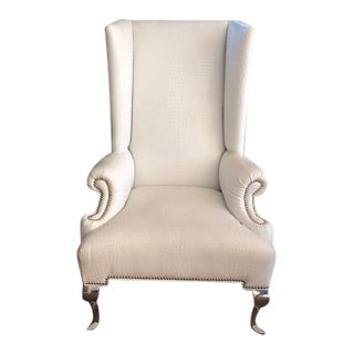 Hollywood Regency Shine by S.H.O. Masters White Crocodile Faux Leather Wingback Chair
