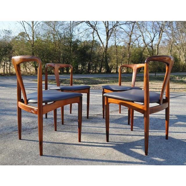 Brown 1960s Vintage Johannes Andersen Brazilian Rosewood Danish Chairs- Set of 4 For Sale - Image 8 of 11
