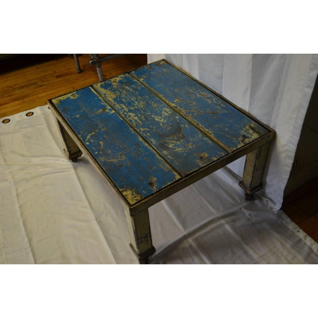 Worn Blue-Painted Coffee Table - Image 3 of 7