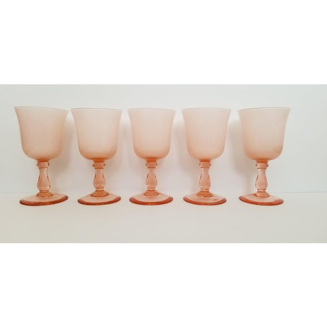 Set of 5 Carlo Moretti pink cased coupe glasses. Pretty pink exterior and white cased inside. Excellent condition. No...