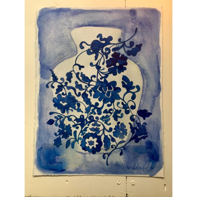 Original watercolor and acrylic on Arches Cold press 140lb. Inspired by Ming dynasty vases and vintage wallpaper.