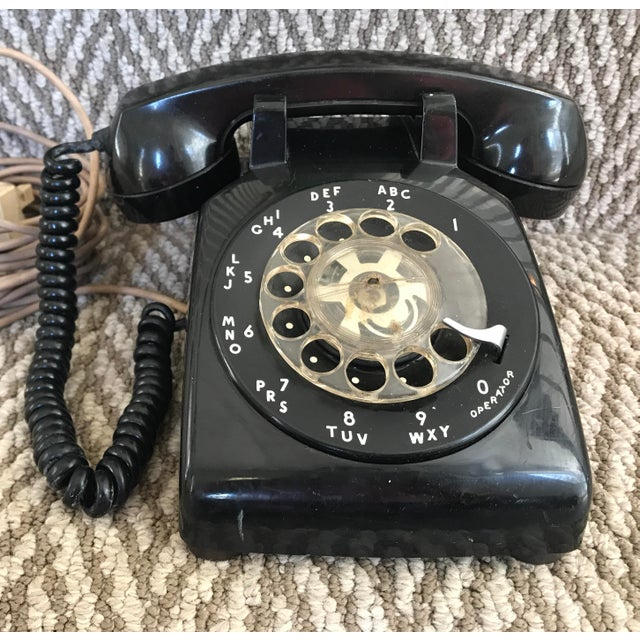 Western Electric 500 Mid-Century Black Rotary Phone For Sale - Image 10 of 10