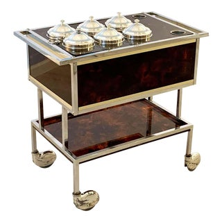 Italian Chrome and Faux Tortoise Ice Cream Cart For Sale