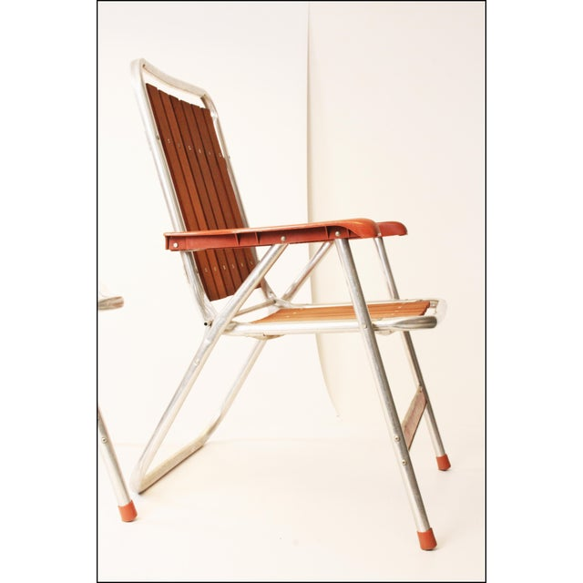 Brown Vintage Redwood & Aluminum Folding Patio Chairs - A Pair For Sale - Image 8 of 11